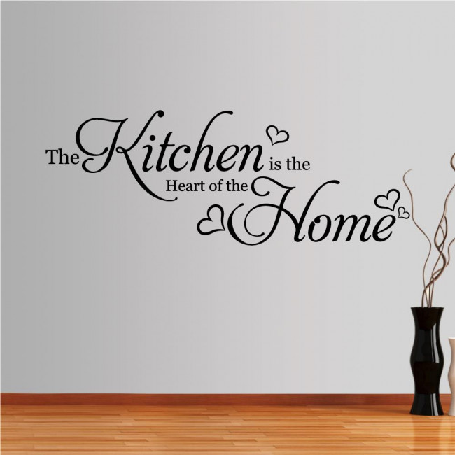 Wall stickers phrases. The Kitchen is the Heart of the home