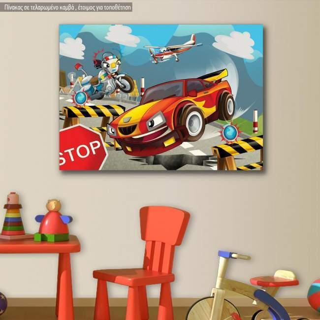 Πίνακας παιδικός σε καμβά Speeding car
