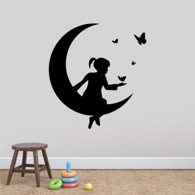 Αυτοκόλλητα τοίχου παιδικά Φεγγάρι και πεταλούδες