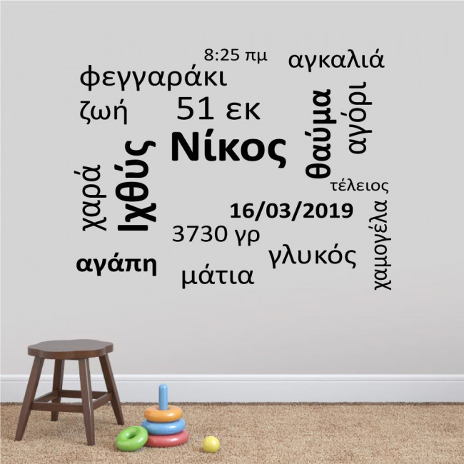 Kids wall stickers Baby word cloud