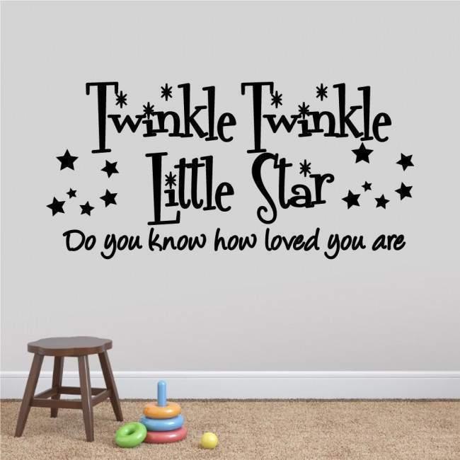 Αυτοκόλλητα τοίχου παιδικά με ευχή και αστέρια, Twinkle Twinkle Little star, αυτοκόλλητο τοίχου