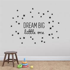 Kids wall stickers DREAM BIG little one with stars