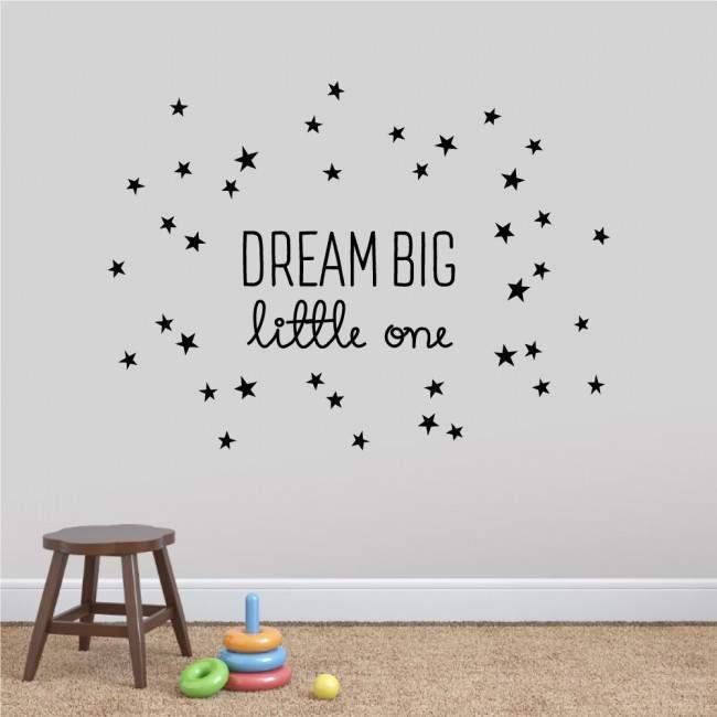 Αυτοκόλλητα τοίχου παιδικά DREAM BIG little one με αστέρια