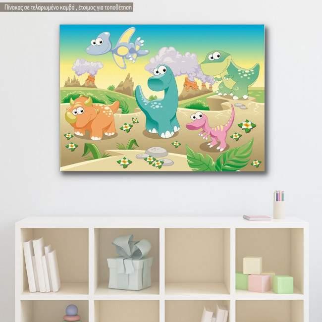 Πίνακας παιδικός σε καμβά Cute dinosaurs