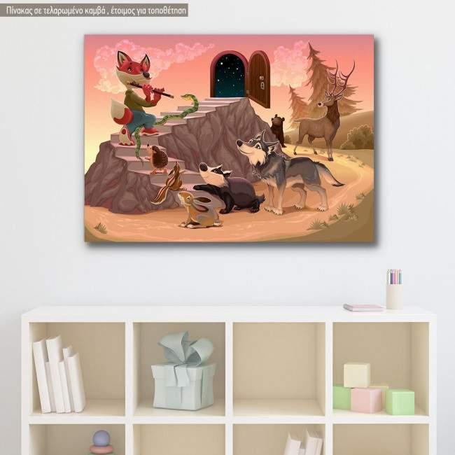 Πίνακας παιδικός σε καμβά Ζωάκια του δάσους, μαγικός αυλός