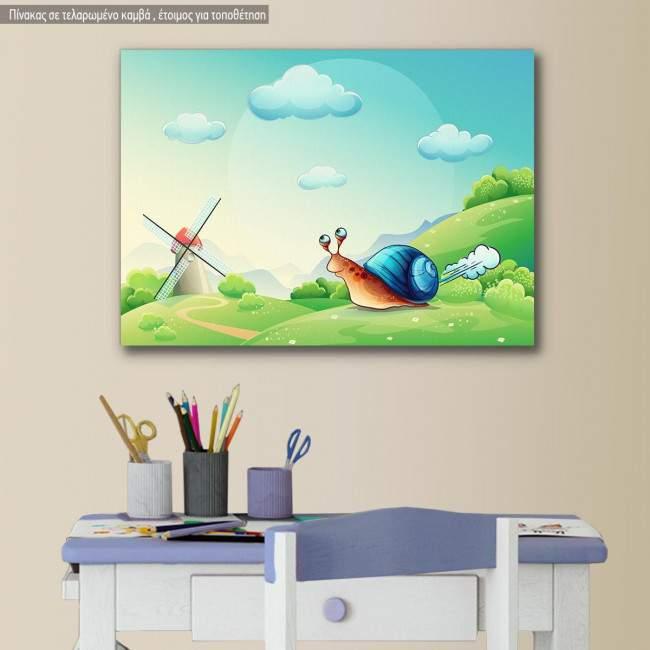 Πίνακας παιδικός σε καμβά Running snail