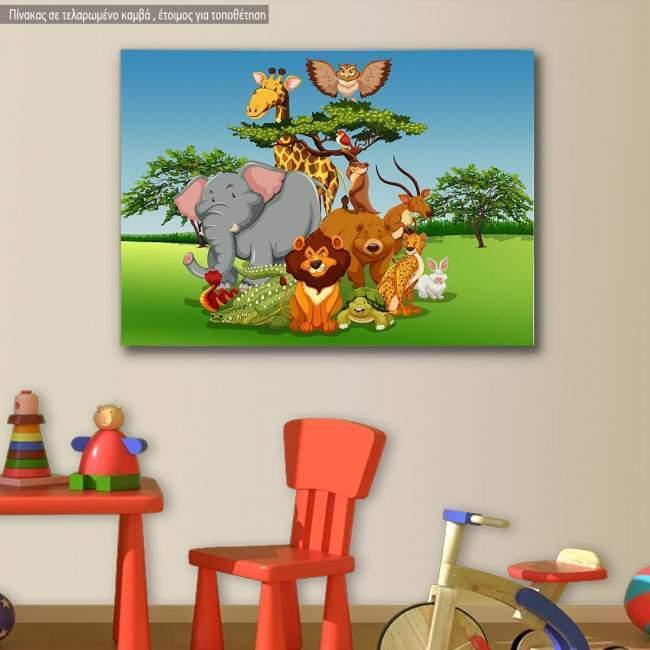 Πίνακας παιδικός σε καμβά Παρέα στη σαβάνα