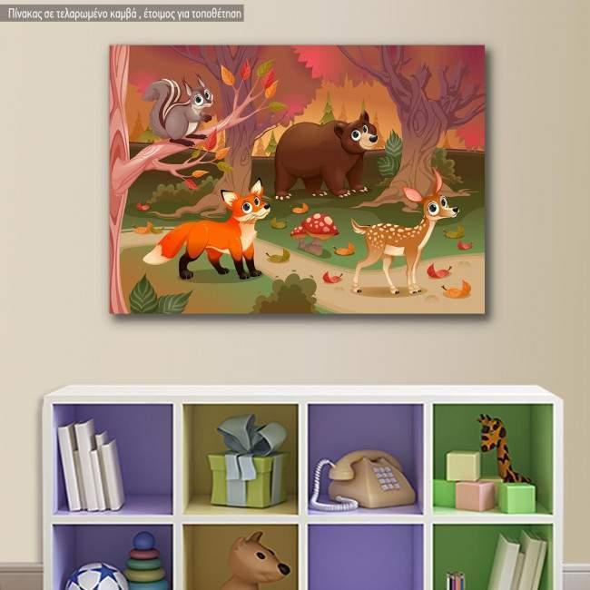 Kids canvas print Cute animal friends
