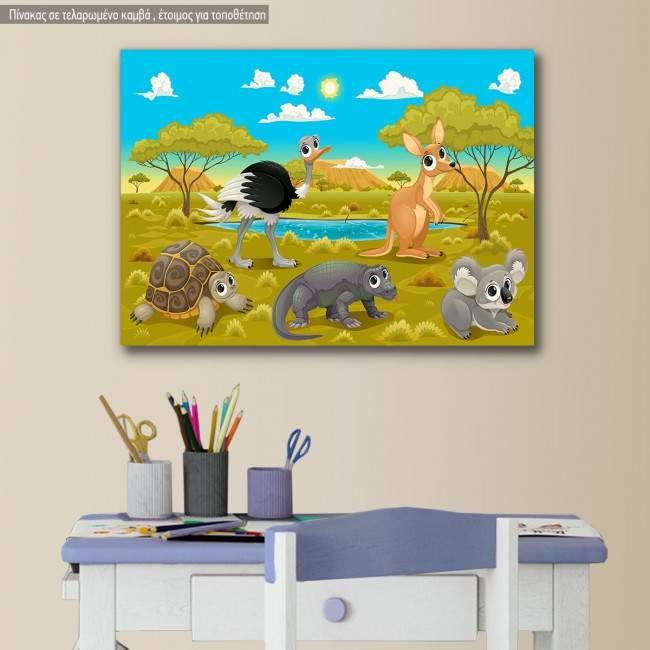 Πίνακας παιδικός σε καμβά Ζωάκια, φιλαράκια στην Αυστραλία