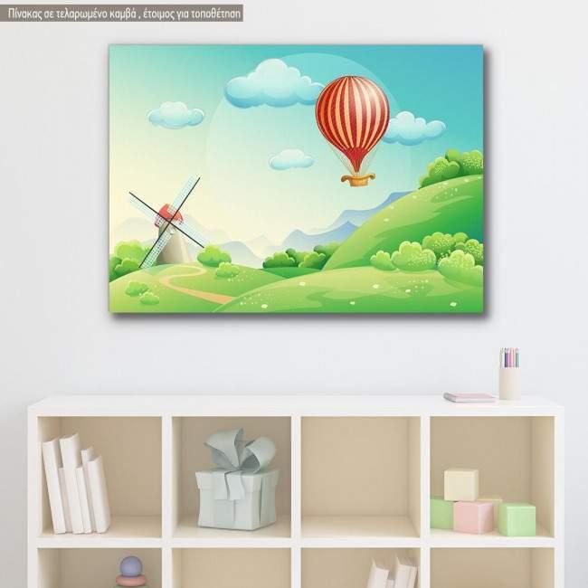 Πίνακας παιδικός σε καμβά Air balloon at countryside