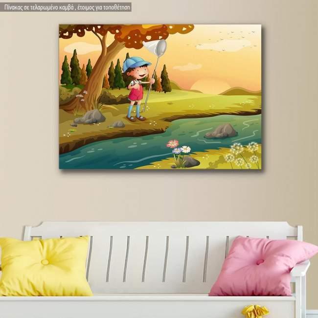 Πίνακας παιδικός σε καμβά Little fisherman