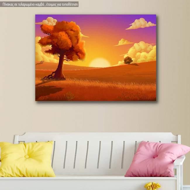 Πίνακας παιδικός σε καμβά Ηλιοβασίλεμα στο λιβάδι