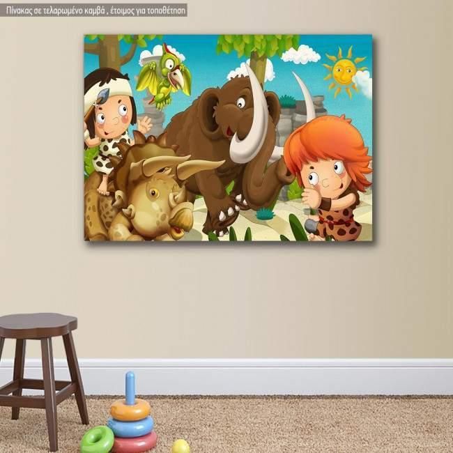 Πίνακας παιδικός σε καμβά Προϊστορικοί φίλοι