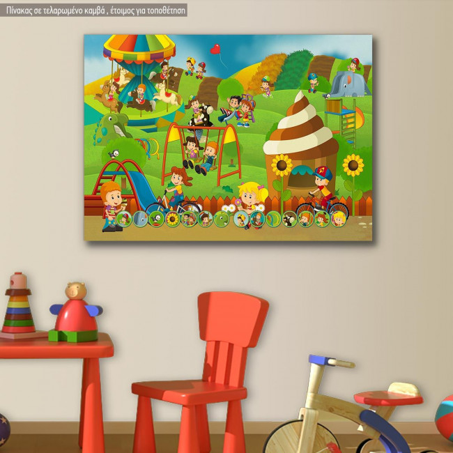 Kids canvas print At the playground