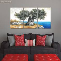 Πίνακας σε καμβά Ελιά στη θάλασσα, τρίπτυχος πανοραμικός
