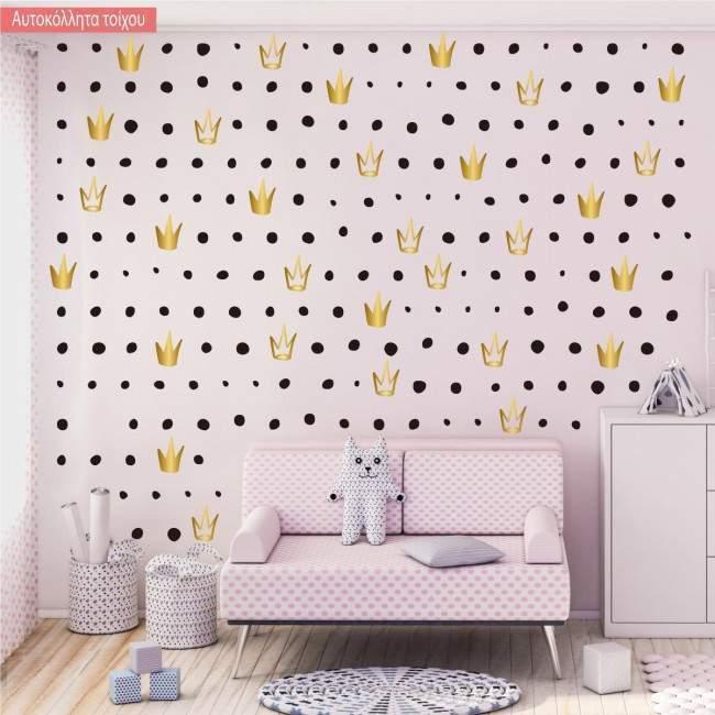 Αυτοκόλλητα τοίχου παιδικά Χρυσές κορώνες μοτίβο