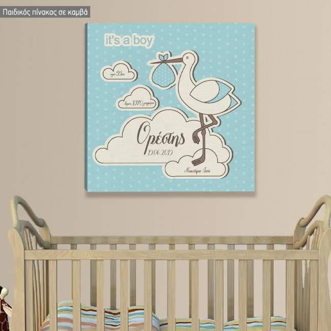 Πίνακας παιδικός σε καμβά Καλώς ήρθες αγοράκι μας, με στοιχεία γέννησης