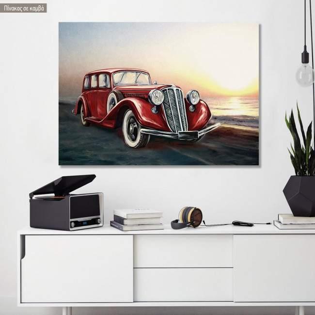 Πίνακας σε καμβά Retro red car