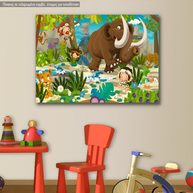Πίνακας παιδικός σε καμβά Παλαιολιθική παρέα με μαμούθ