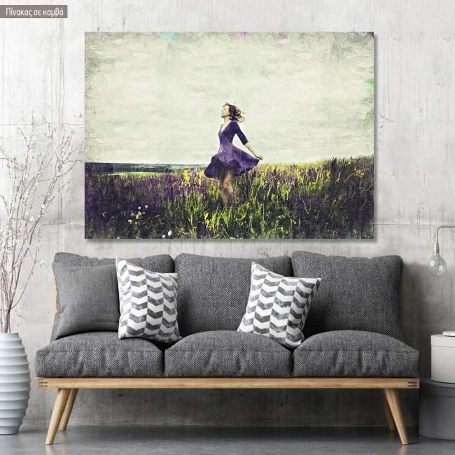 Πίνακας σε καμβά Young girl in a sage flower field