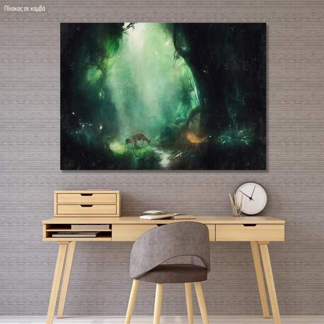 Πίνακας σε καμβά Ελάφια στο δάσος