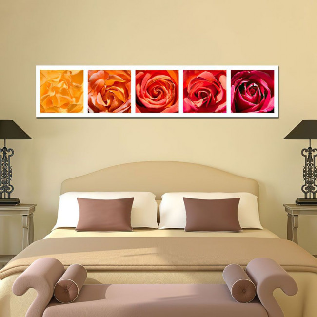 Canvas print Roses everywhere, panoramic