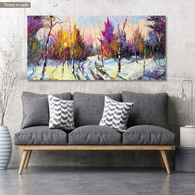 Πίνακας σε καμβά Sunset in winter forest, πανοραμικός
