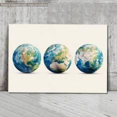 Πίνακας σε καμβά Planet Earth 3 globes