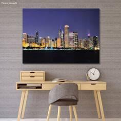 Πίνακας σε καμβά Chicago night panorama