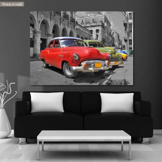 Πίνακας σε καμβά Αβάνα αυτοκίνητα, Colorful Havana cars gray back