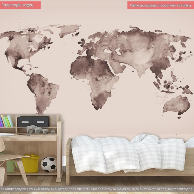 Wallpaper World Map Old Style Brown Graphics