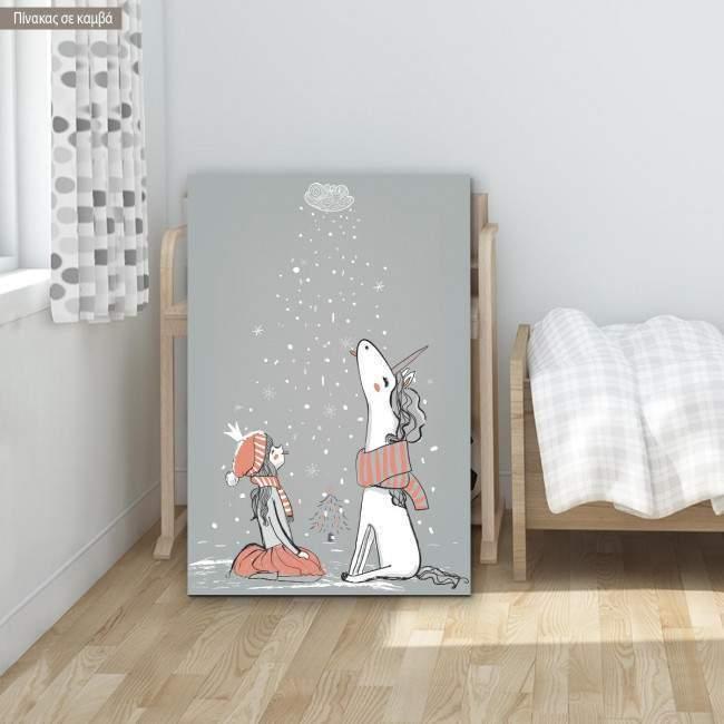 Πίνακας παιδικός σε καμβά Princess with unicorn