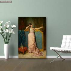Canvas print Portrait of a woman admiring herself, Toulmouche A.
