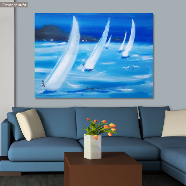 Canvas print Blue sailing