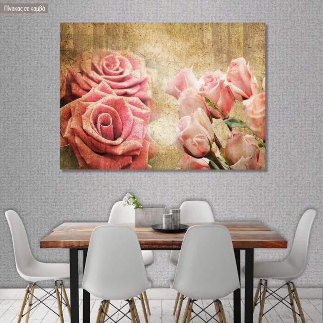 Πίνακας σε καμβά Τριαντάφυλλα, Roses vintage