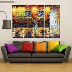 Canvas print Couple under the rain,  3 panels