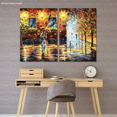 Canvas print Couple under the rain, two panels