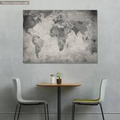 Canvas print World map vintage grayscale