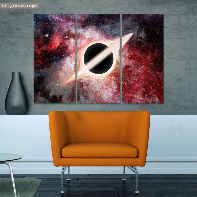 Πίνακας σε καμβά Black hole, τρίπτυχος