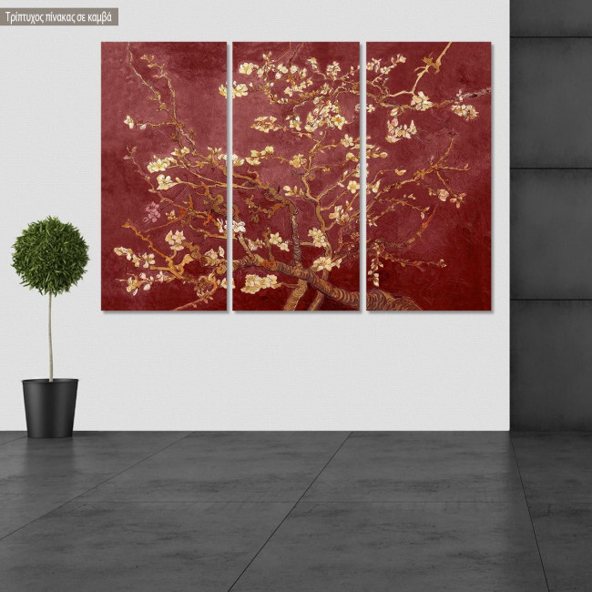 Canvas print Blossoming almond tree (red), van Gogh Vincent, 3 panels
