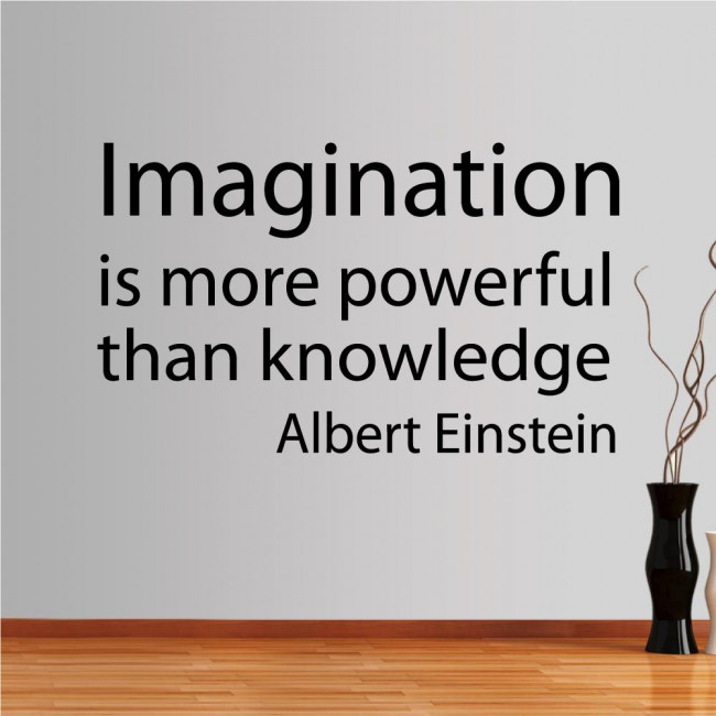 Wall stickers phrases. Imagination is more powerfull..., Einstein