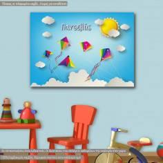 Πίνακας παιδικός σε καμβά Kites in the sky