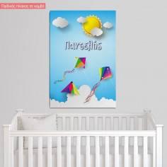 Πίνακας παιδικός σε καμβά Kites in the sky, κάθετο
