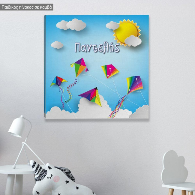Kids canvas print Κites in the sky, square