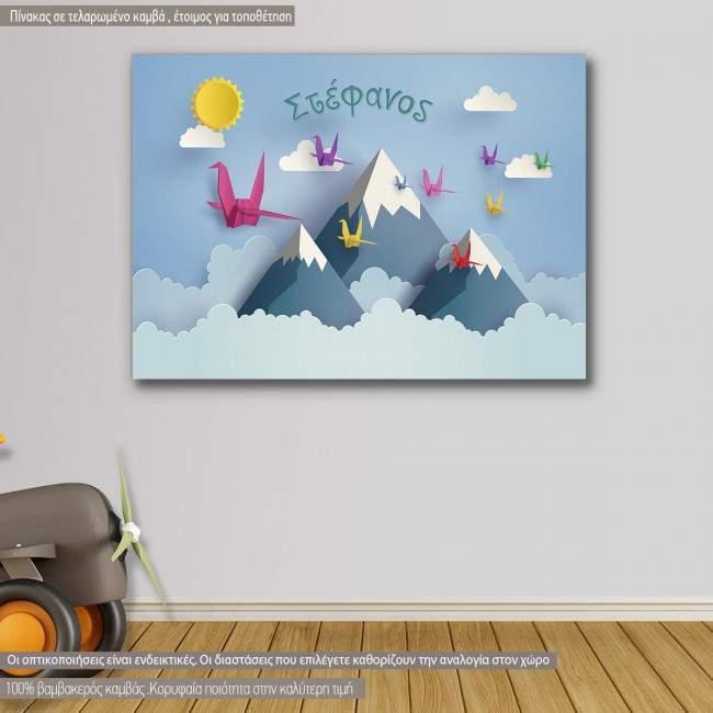 Πίνακας παιδικός σε καμβά Origami birds and moutains