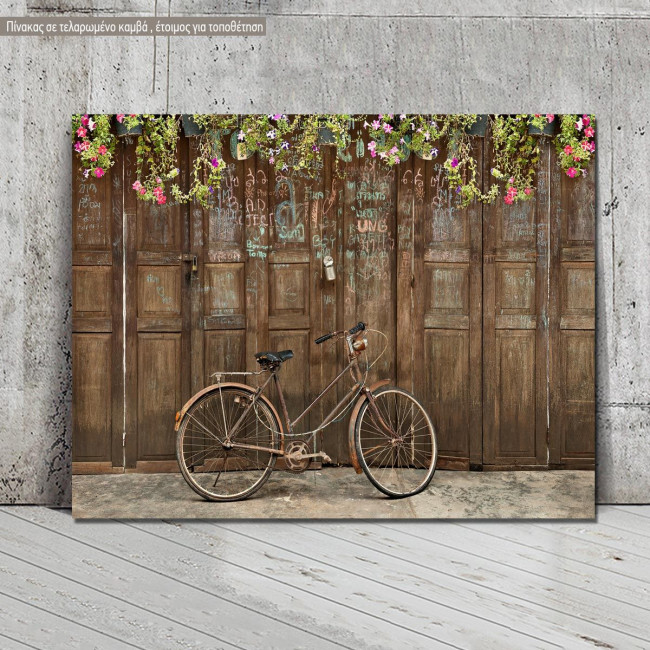 Canvas print Old style rusty brown bicycle