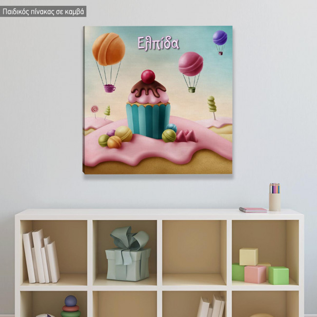 Kids canvas print Sweet paradise, square