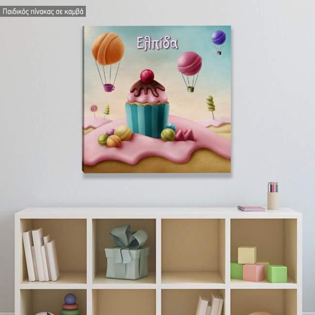 Πίνακας παιδικός σε καμβά Sweet paradise, τετράγωνο