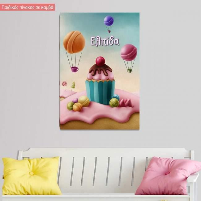Πίνακας παιδικός σε καμβά Sweet paradise, κάθετο