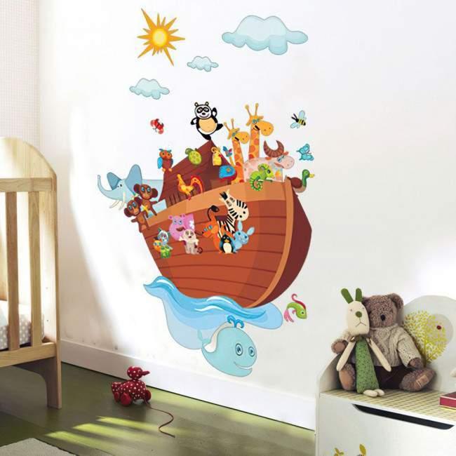 Αυτοκόλλητα τοίχου παιδικά Κιβωτός, ζωάκια, ήλιο και σύννεφα, Κιβωτός του Νώε